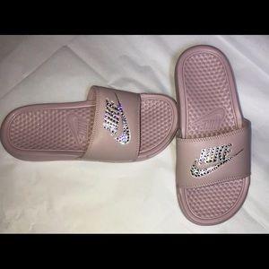 Nike Shoes - Nike Benassi slides in Nude Pink Swarovski detail